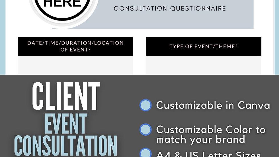 Event Consultation Questionnaire
