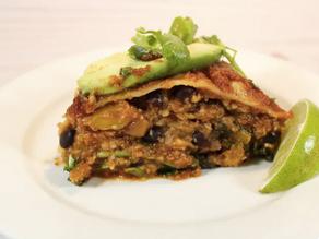 Very Veggie Lazy Layered Enchilada Casserole (vegan, gluten free)