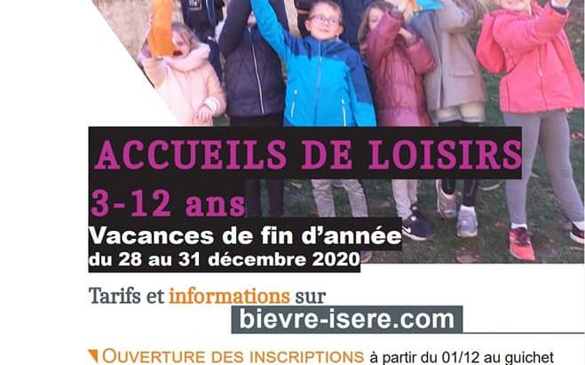 Accueil de Loisirs 3-12 ans Vacances de fin d'année du 28 au 31 décembre 2020