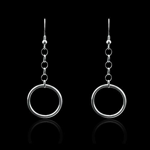 Hanging Hoop Earrings (Silver)