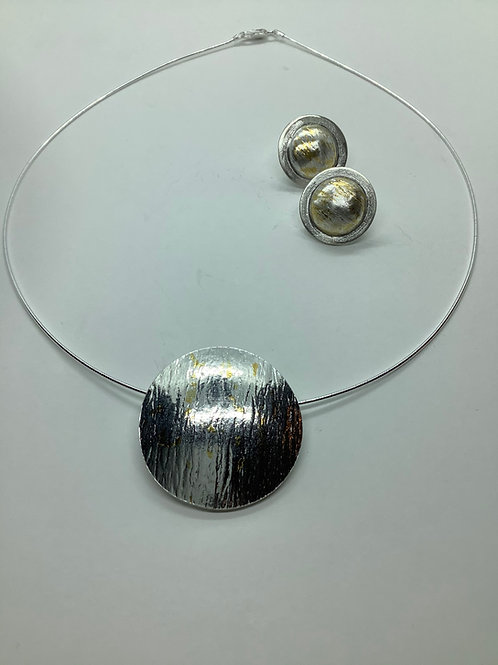 Keum-Boo Circle Pendant with Gold and Silver Earrings