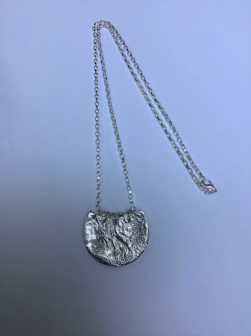 Sterling Silver Reticulated Basket Shape Necklace