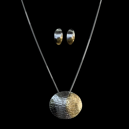 Gold and Silver Keum-Boo Pendant & Matching Earrings