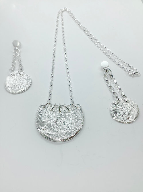Sterling silver reticulated basket shape necklace- earrings to match