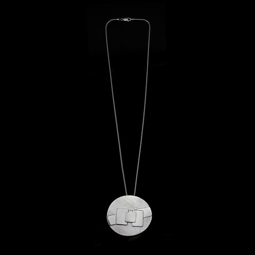Round Geometric Pendant (Silver)