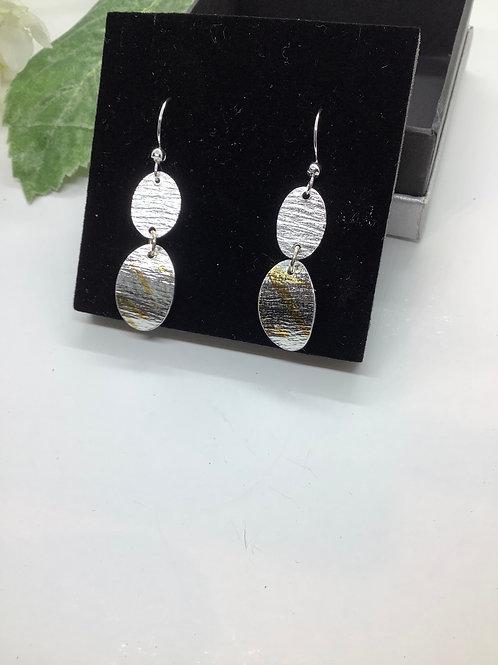 Double oval Keum Boo drop earrings