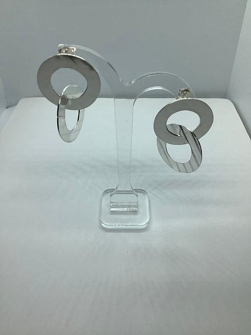 Sterling silver hoop circle earrings