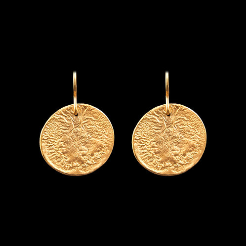 Gold Plated Reticulated Silver Drop Earrings