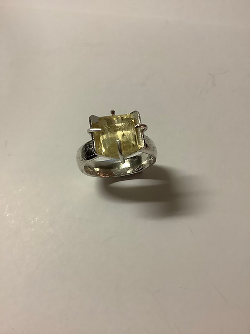Pale Yellow Sapphire  on Silver Band