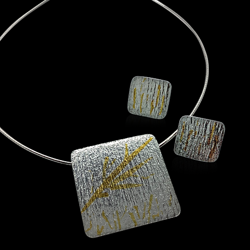 Keum-Boo Pendant on Omega Chain & Matching Earrings
