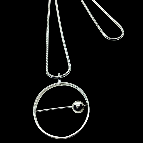 Sterling Silver Moving Ball Pendant