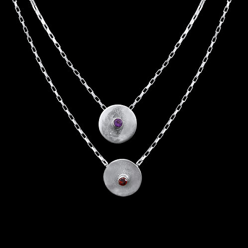 Double Silver Necklace with Semi-Precious Stones