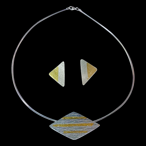Keum-Boo Triangle Pendant with Keum-Boo Earrings