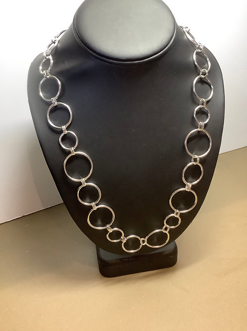 Argentium Silver Circle necklace with Toggle closing