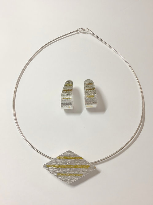Triangle Keum Boo Pendant with Keum Boo Hoop earrings