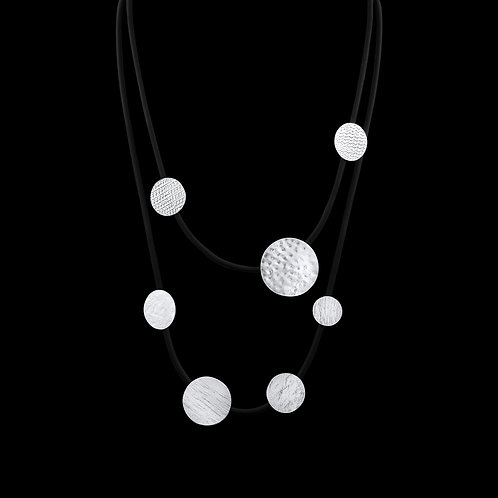 Silver & Rubber Long Necklace