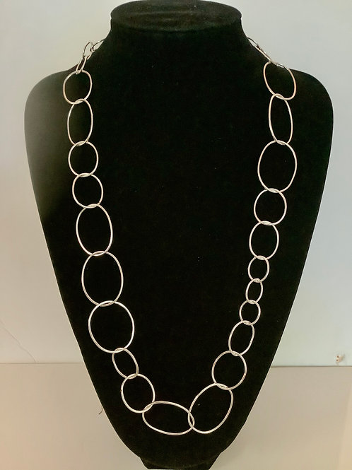 Silver Random oval long necklace