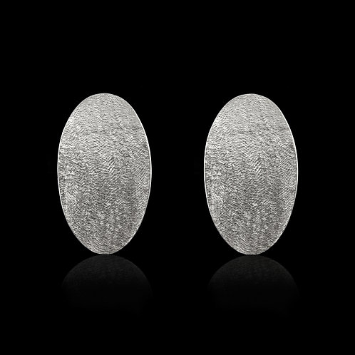 Textured Oval Earrings (Silver)
