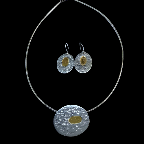 Gold and Silver Pendant and Matching Earrings