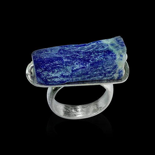 Chunky Lapis & Silver Ring