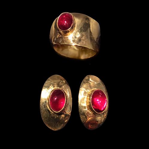 Gold Plated Garnet Ring & Earrings