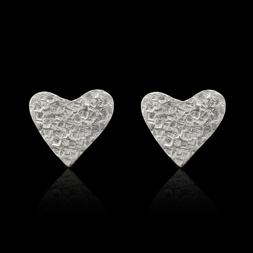 Textured Heart Earrings (Silver)