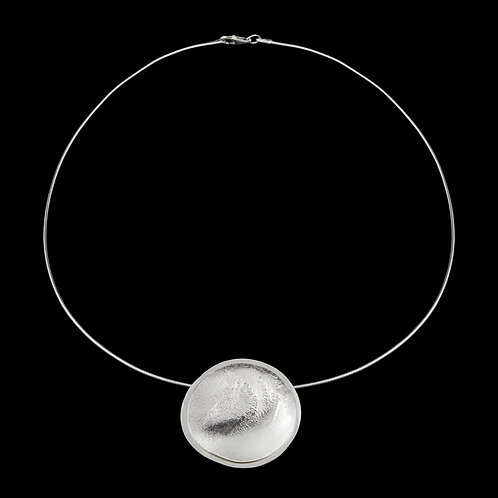 Reticulated Double Circle Silver Pendant