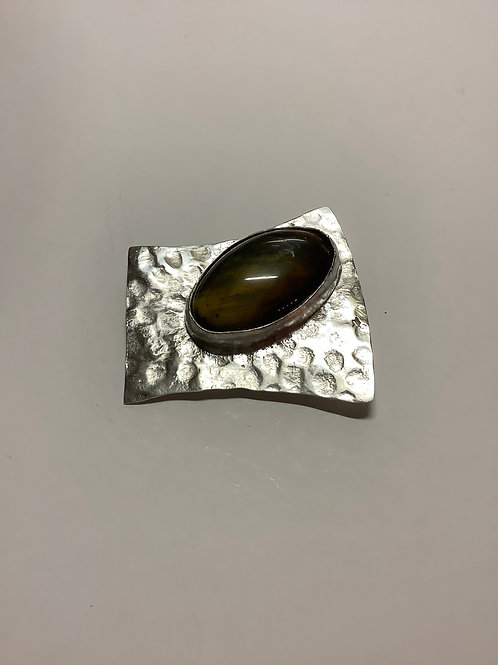 Textured Silver Brooch with Large Fluorite Stone