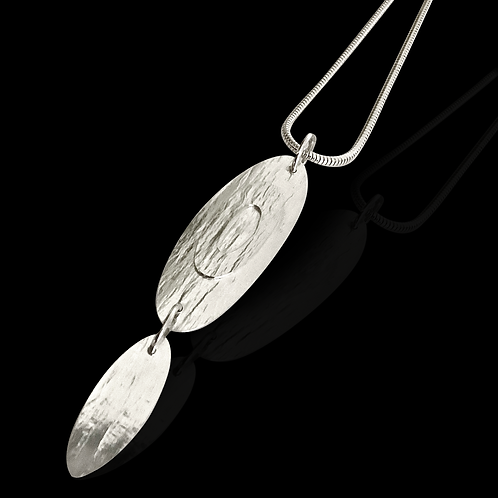 Silver Drop Oval Pendant on Snake Chain