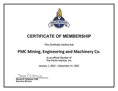 Perlite Institute Membership Certificate
