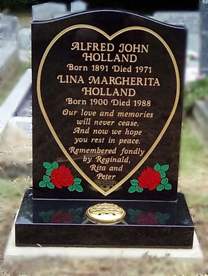 New Headstone Heart and Rose Bespoke Des
