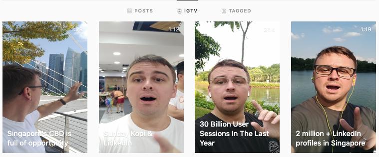 My video portfolio is on IGTV (Instagram TV)