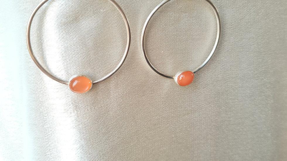 Peach Moonstone Hoops