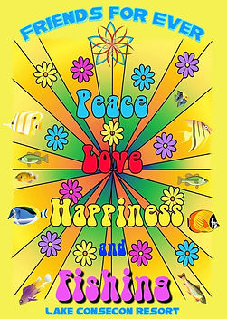 Love Peace Happiness Fishing Poster 2021