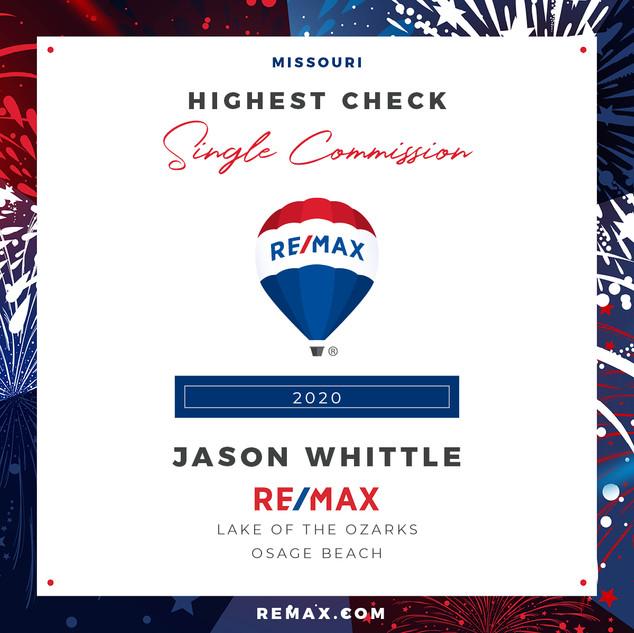 Jason Whittle Highest Check Single Commi