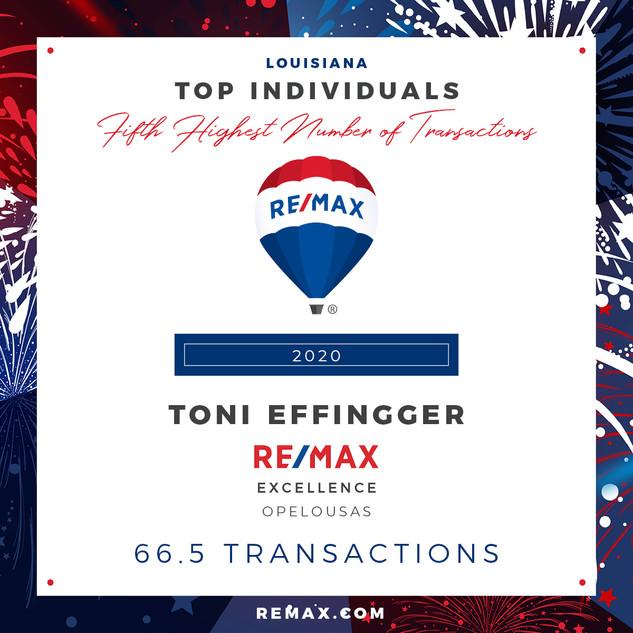 TONI EFFINGGER TOP INDIVIDUALS BY TRANSA