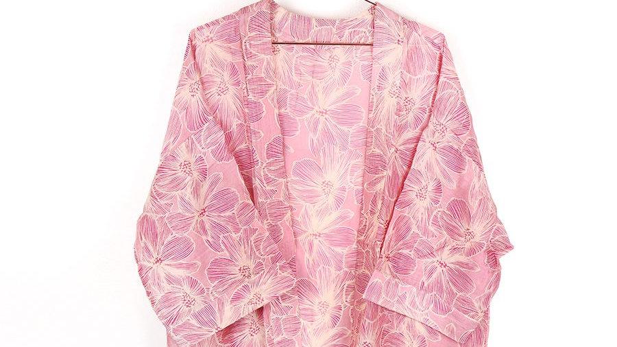 Pink & White Floral Jacket Kimono