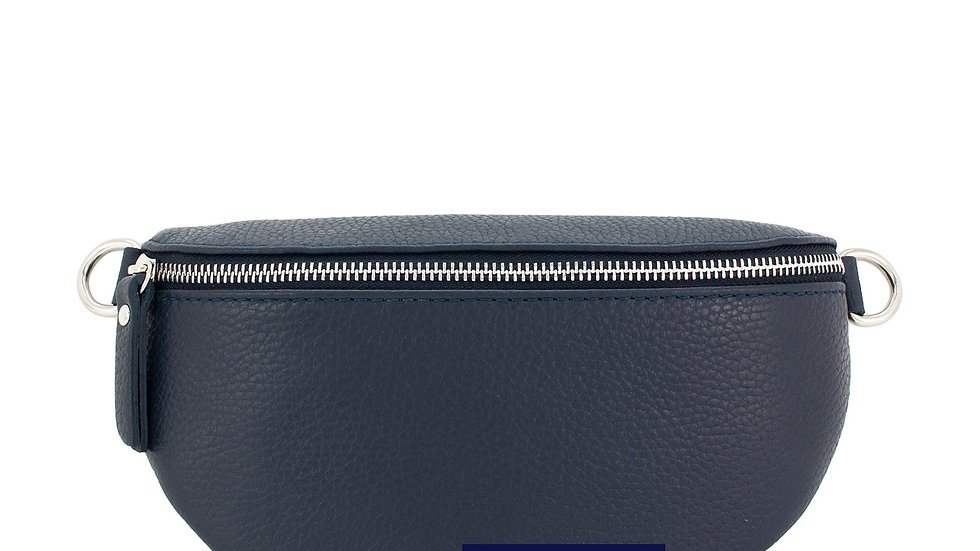 Real Leather Belt Bag - Navy