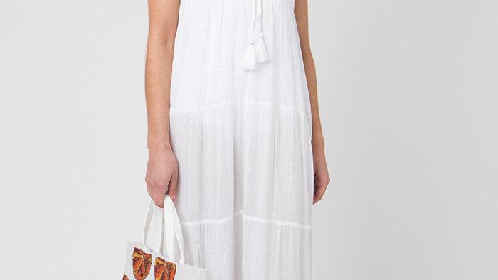 White Layered Sparkle Maxi Dress