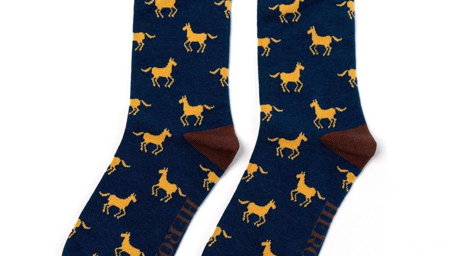 Mens Navy Horses Socks