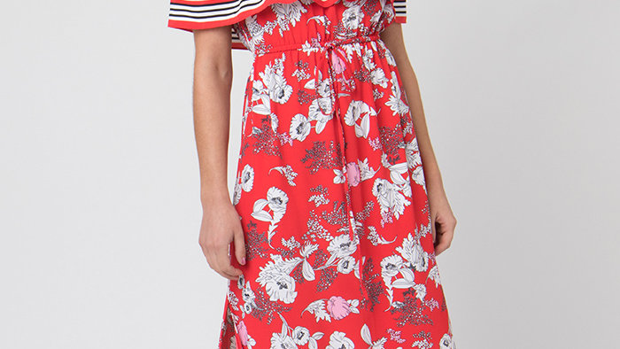 Red Floral and Stripe Maxi Dress