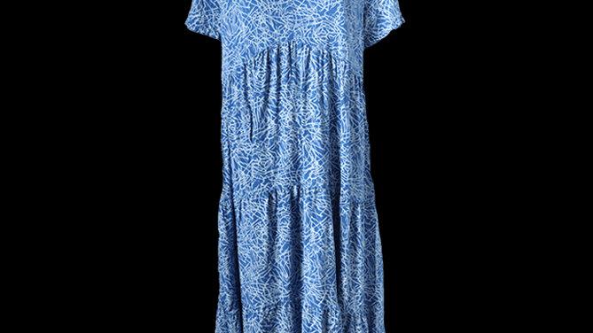 Tiered V Neck Summer Dress -Blue