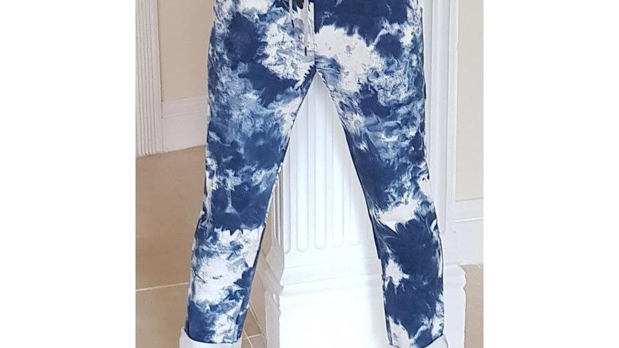 Blue Mottled Pattern Trousers