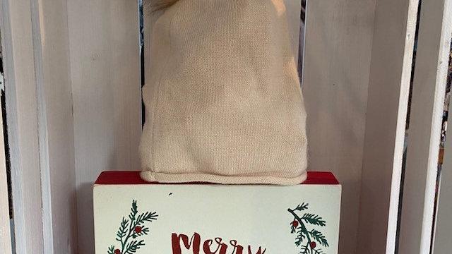 Cashmere Mix Soft Beige Beanie Hat with Faux Fur Pom Pom