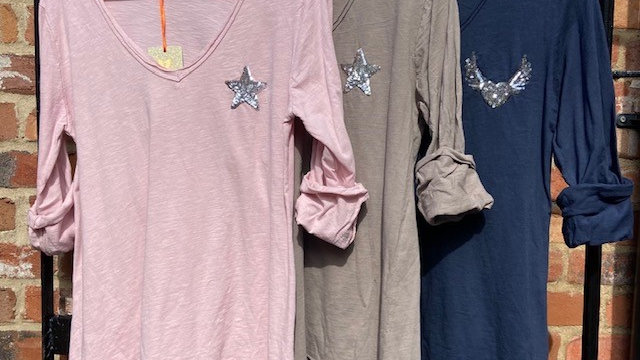 Long Sleeve V Neck Tee with Sequin Star