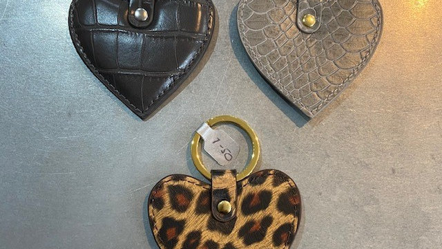 Heart Shaped Faux Leather Key Rings