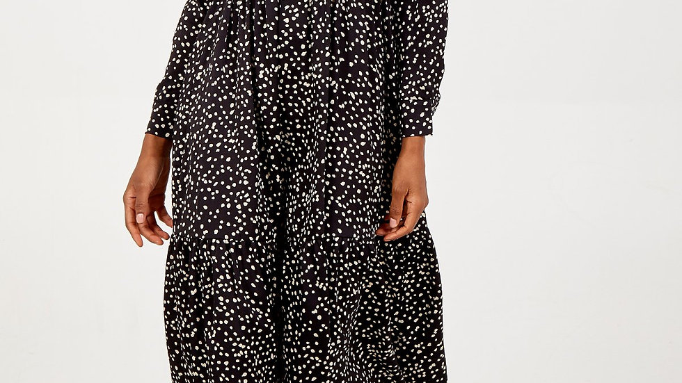 Black and Ivory Speckled Dress