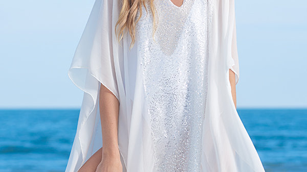 White Sequin Cover Up