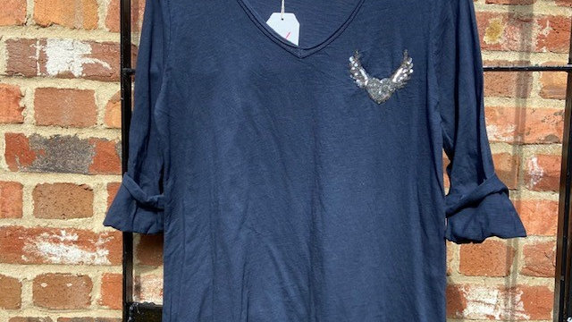 Navy Long Sleeve Tee with Sequin Wings
