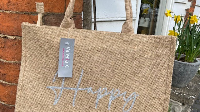 Canvas Jute Shopping Bag with 'Happy' Logo in silver sparkle